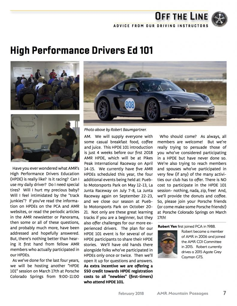 AMR HIGH PERF DRIVER'S ED 101 @ Porsche Colorado Springs